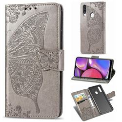 Embossing Mandala Flower Butterfly Leather Wallet Case for Samsung Galaxy A20s - Gray
