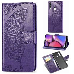 Embossing Mandala Flower Butterfly Leather Wallet Case for Samsung Galaxy A20s - Dark Purple