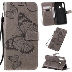 Embossing 3D Butterfly Leather Wallet Case for Samsung Galaxy A20s - Gray