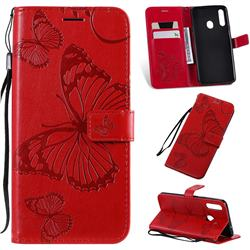 Embossing 3D Butterfly Leather Wallet Case for Samsung Galaxy A20s - Red