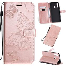 Embossing 3D Butterfly Leather Wallet Case for Samsung Galaxy A20s - Rose Gold