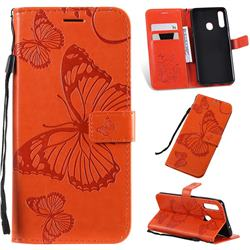 Embossing 3D Butterfly Leather Wallet Case for Samsung Galaxy A20s - Orange