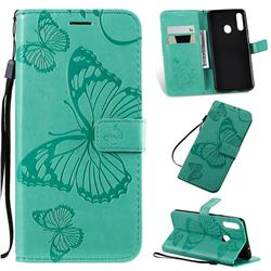 Embossing 3D Butterfly Leather Wallet Case for Samsung Galaxy A20s - Green