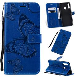 Embossing 3D Butterfly Leather Wallet Case for Samsung Galaxy A20s - Blue