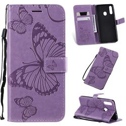 Embossing 3D Butterfly Leather Wallet Case for Samsung Galaxy A20s - Purple