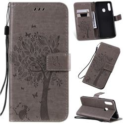 Embossing Butterfly Tree Leather Wallet Case for Samsung Galaxy A20s - Grey