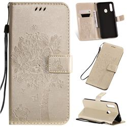Embossing Butterfly Tree Leather Wallet Case for Samsung Galaxy A20s - Champagne