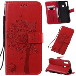 Embossing Butterfly Tree Leather Wallet Case for Samsung Galaxy A20s - Red
