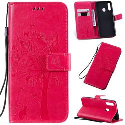 Embossing Butterfly Tree Leather Wallet Case for Samsung Galaxy A20s - Rose