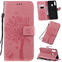 Embossing Butterfly Tree Leather Wallet Case for Samsung Galaxy A20s - Pink