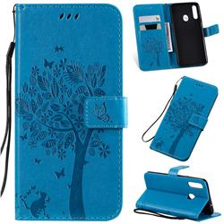 Embossing Butterfly Tree Leather Wallet Case for Samsung Galaxy A20s - Blue