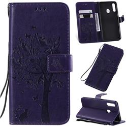 Embossing Butterfly Tree Leather Wallet Case for Samsung Galaxy A20s - Purple
