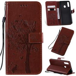 Embossing Butterfly Tree Leather Wallet Case for Samsung Galaxy A20s - Coffee