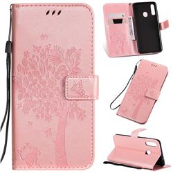Embossing Butterfly Tree Leather Wallet Case for Samsung Galaxy A20s - Rose Pink
