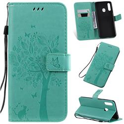 Embossing Butterfly Tree Leather Wallet Case for Samsung Galaxy A20s - Cyan