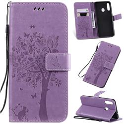 Embossing Butterfly Tree Leather Wallet Case for Samsung Galaxy A20s - Violet