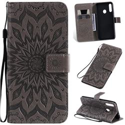 Embossing Sunflower Leather Wallet Case for Samsung Galaxy A20s - Gray