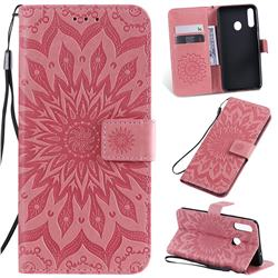 Embossing Sunflower Leather Wallet Case for Samsung Galaxy A20s - Pink