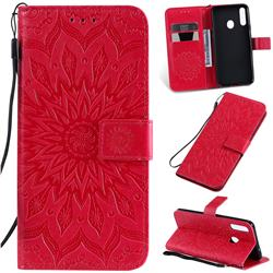 Embossing Sunflower Leather Wallet Case for Samsung Galaxy A20s - Red