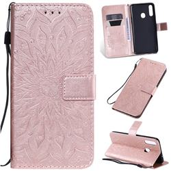 Embossing Sunflower Leather Wallet Case for Samsung Galaxy A20s - Rose Gold
