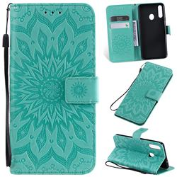 Embossing Sunflower Leather Wallet Case for Samsung Galaxy A20s - Green