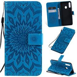 Embossing Sunflower Leather Wallet Case for Samsung Galaxy A20s - Blue