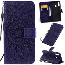 Embossing Sunflower Leather Wallet Case for Samsung Galaxy A20s - Purple