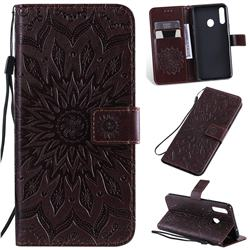 Embossing Sunflower Leather Wallet Case for Samsung Galaxy A20s - Brown