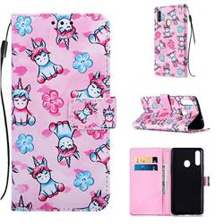 Unicorn and Flowers Matte Leather Wallet Phone Case for Samsung Galaxy A20s