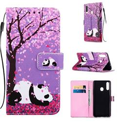Cherry Blossom Panda Matte Leather Wallet Phone Case for Samsung Galaxy A20s