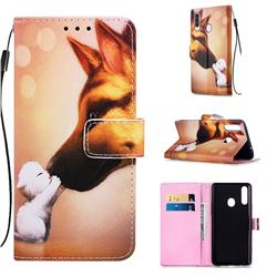 Hound Kiss Matte Leather Wallet Phone Case for Samsung Galaxy A20s