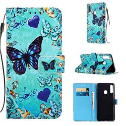 Love Butterfly Matte Leather Wallet Phone Case for Samsung Galaxy A20s