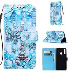 Tower Butterfly Matte Leather Wallet Phone Case for Samsung Galaxy A20s