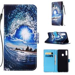 Waves and Sun Matte Leather Wallet Phone Case for Samsung Galaxy A20s