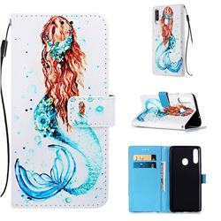 Mermaid Matte Leather Wallet Phone Case for Samsung Galaxy A20s