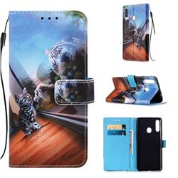 Mirror Cat Matte Leather Wallet Phone Case for Samsung Galaxy A20s