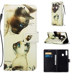 Cat Confrontation Matte Leather Wallet Phone Case for Samsung Galaxy A20s
