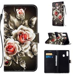 Black Rose Matte Leather Wallet Phone Case for Samsung Galaxy A20s