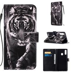 Black and White Tiger Matte Leather Wallet Phone Case for Samsung Galaxy A20s