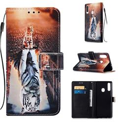 Cat and Tiger Matte Leather Wallet Phone Case for Samsung Galaxy A20s
