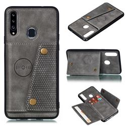 Retro Multifunction Card Slots Stand Leather Coated Phone Back Cover for Samsung Galaxy A20s - Gray