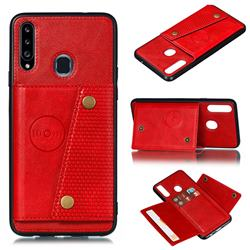 Retro Multifunction Card Slots Stand Leather Coated Phone Back Cover for Samsung Galaxy A20s - Red