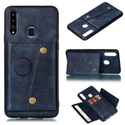 Retro Multifunction Card Slots Stand Leather Coated Phone Back Cover for Samsung Galaxy A20s - Blue