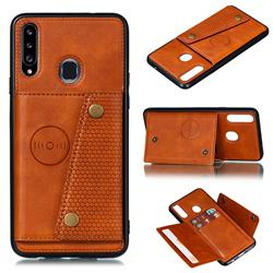 Retro Multifunction Card Slots Stand Leather Coated Phone Back Cover for Samsung Galaxy A20s - Brown