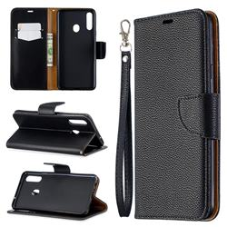 Classic Luxury Litchi Leather Phone Wallet Case for Samsung Galaxy A20s - Black