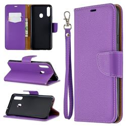Classic Luxury Litchi Leather Phone Wallet Case for Samsung Galaxy A20s - Purple