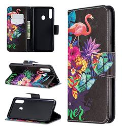 Flowers Flamingos Leather Wallet Case for Samsung Galaxy A20s