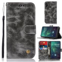 Luxury Retro Leather Wallet Case for Samsung Galaxy A20s - Gray