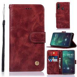 Luxury Retro Leather Wallet Case for Samsung Galaxy A20s - Wine Red