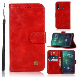 Luxury Retro Leather Wallet Case for Samsung Galaxy A20s - Red